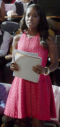 Michaela's red zip front eyelet dress on How to Get Away with Murder