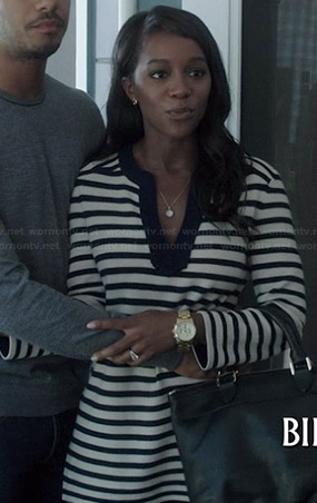 Michaela's navy striped split-neck tunic on How to Get Away with Murder