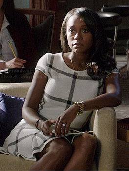Michaela's white grid checked dress on How to Get Away with Murder