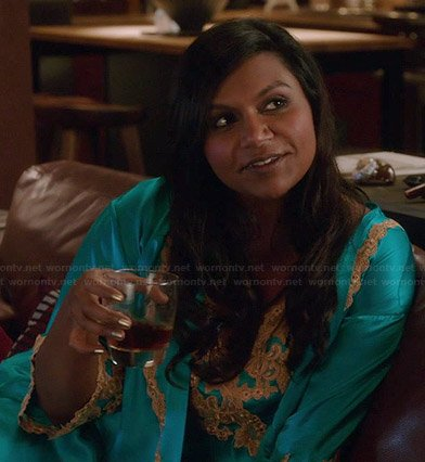 Mindy's turquoise blue lace applique slip and robe on The Mindy Project