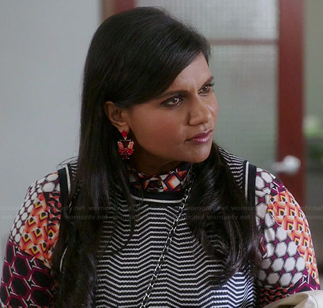 Mindy's geometric printed shirt and striped shell top on The Mindy Project