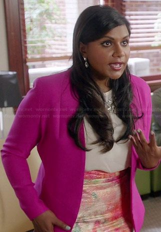 Mindy's white embellished blouse, pink blazer and watercolor skirt on The Mindy Project
