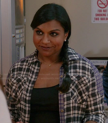 Mindy's black plaid patched shirt on The Mindy Project