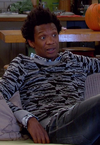 Motif's grey zebra sweater on Mulaney