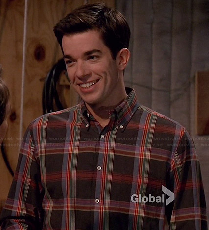 John's grey and multi-colored plaid shirt on Mulaney