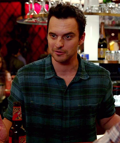 Nick's blue and green plaid shirt on New Girl
