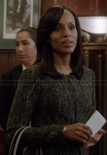 Olivia's black tweed zip front peplum jacket on Scandal
