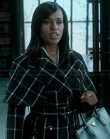 Olivia's black and white checked coat on Scandal