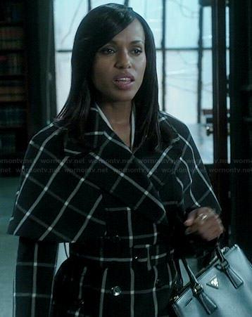 Olivia's black and white checked coat on Scandal