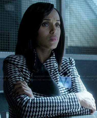 Olivia's black and white geometric patterned jacket on Scandal