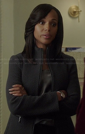 Olivia's grey zip front jacket on Scandal