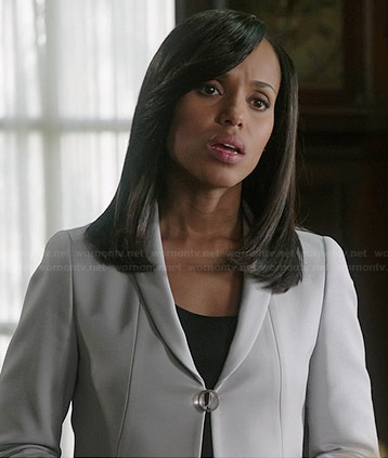 Olivia's white single button jacket on Scandal