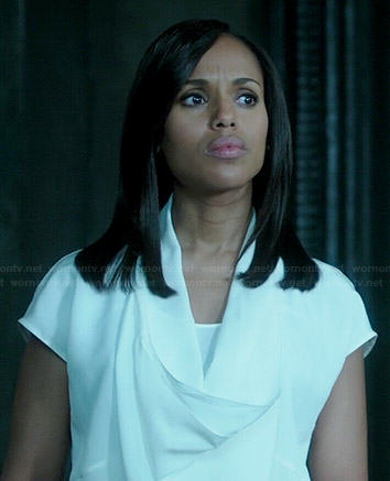 Olivia's white cowl neck blouse on Scandal