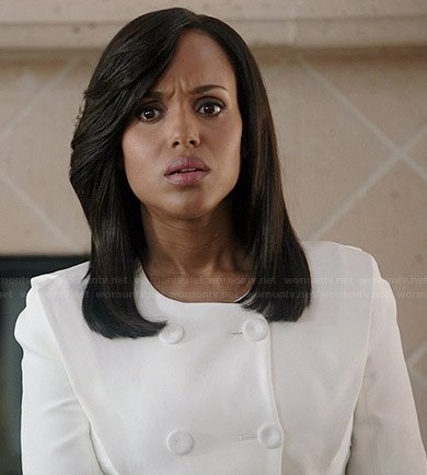 Olivia's white double breasted jacket on Scandal