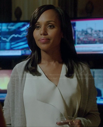 Olivia's white draped front blouse and long cardigan on Scandal