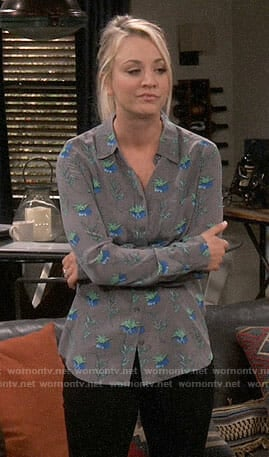 Penny's grey leaf printed long sleeved blouse on The Big Bang Theory