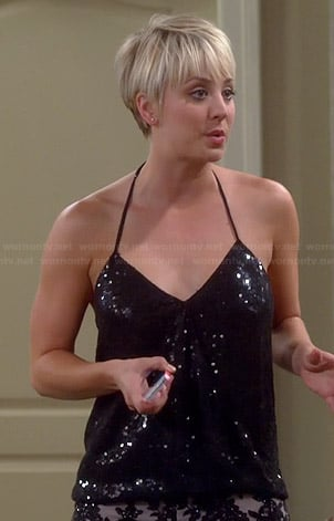 Penny's black sequinned halter top and lace shorts on The Big Bang Theory