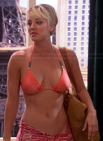 Penny's orange bikini top and studded straw tote on The Big Bang Theory