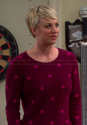 Penny's red and pink polka dot sweater on The Big Bang Theory