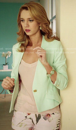 Petra's mint green blazer and floral shorts on Jane the Virgin