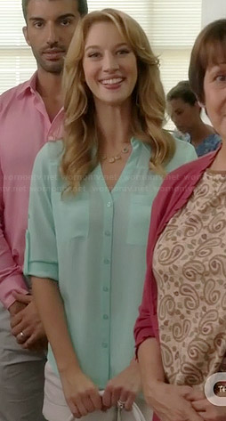 Petra's mint button down blouse on Jane the Virgin