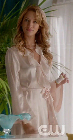 Petra's long ruffle front robe on Jane the Virgin