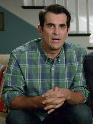 Phil's green and blue checked shirt on Modern Family