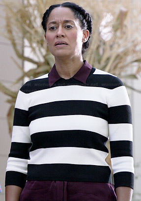 Rainbow's black and white striped crop sweater on Black-ish
