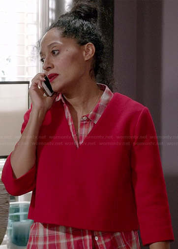 Rainbow's red plaid shirt and v-neck crop top on Black-ish