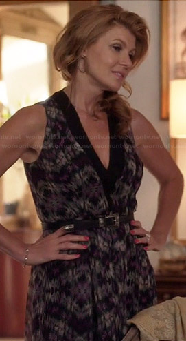 Rayna's purple printed v-neck dress on Nashville