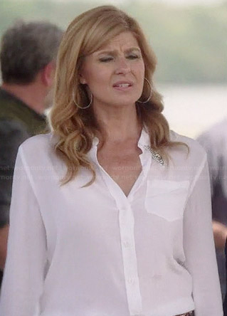 Rayna's white blouse with embellished collar on Nashville