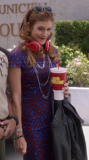 Rebecca's red and blue leopard print dress and leather jacket on Bad Judge
