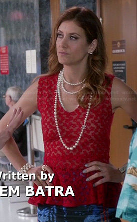 Rebecca's red lace peplum top on Bad Judge