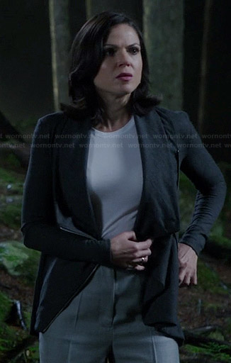 Regina's dark grey draped front cardigan on Once Upon a Time