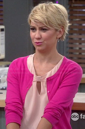 Riley's pink bow keyhole top and pink cardigan on Baby Daddy