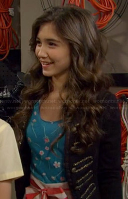 Riley's blue floral top and red and white striped skirt on Girl Meets World