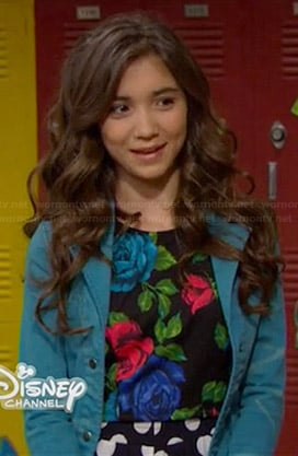 Riley's rose print crop top, polka dot pants and turquoise blue jacket on Girl Meets World