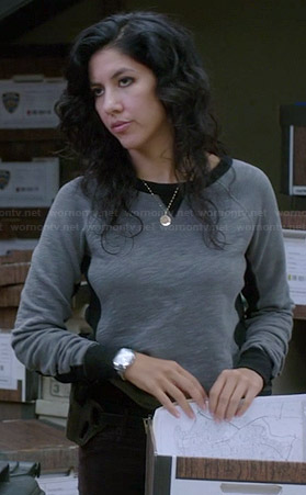 Rosa's grey sweatshirt with black trim on Brooklyn Nine-Nine