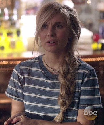 Scarlett's blue striped tee on Nashville