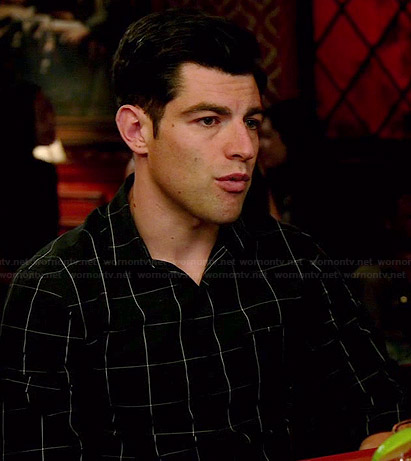Schmidt's black grid checked shirt on New Girl