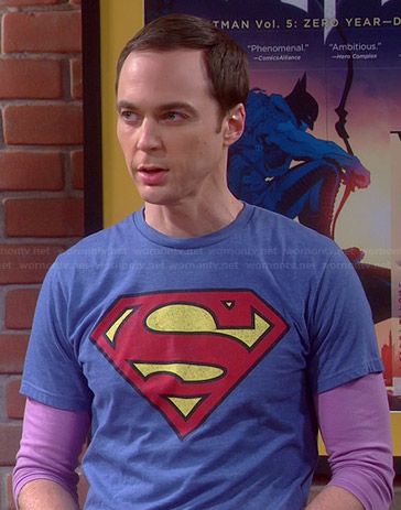 Sheldon's blue Superman tee on The Big Bang Theory