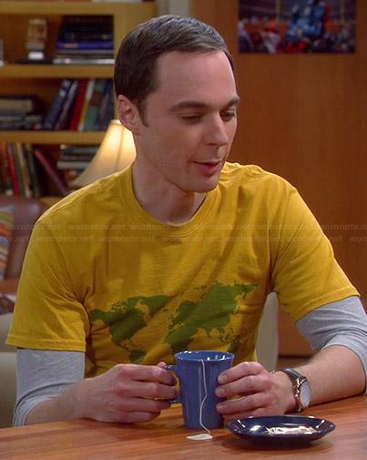 Sheldon's yellow world map graphic tee on The Big Bang Theory