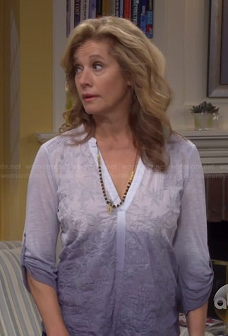Vanessa's embroidered ombre top on Last Man Standing