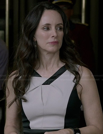 Victoria's black and white twist neck dress on Revenge