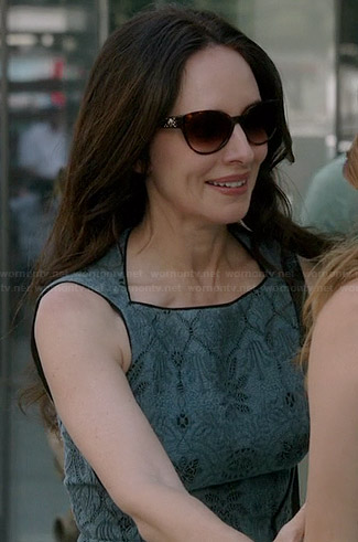 Victoria's blue lace flared dress on Revenge