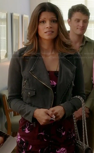 Xiomara's burgundy tropical printed playsuit and cropped denim jacket on Jane the Virgin