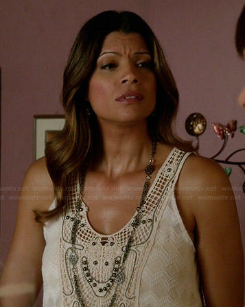 Xiomara's white crochet and beaded tank top on Jane the Virgin