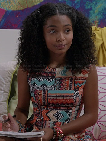 Zoey's multi-colored geometric print skater dress on Black-ish