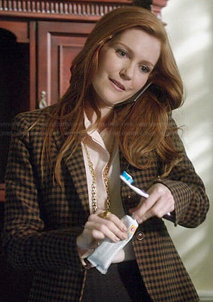 Abby's brown checked blazer on Scandal