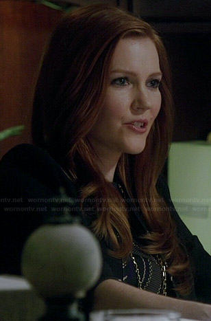Abby's diagonal patterned dress and contrast trim jacket on Scandal
